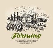 Rolny nakreślenie Wiejski krajobraz, rolnictwo, uprawia ziemię, winnicy wektoru ilustracja royalty ilustracja