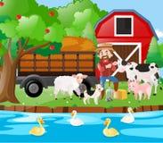 Rolny sceny famer, zwierzęta gospodarskie rzeką i ilustracji