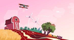 Rolny stajnia budynku pole Z silnikiem wiatrowym royalty ilustracja