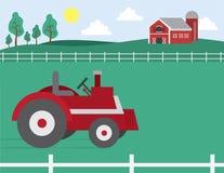 rolny stajnia ciągnik ilustracja wektor