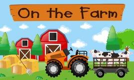 Rolny temat z krowami na ciągniku Fotografia Royalty Free