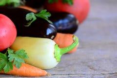 Rolny warzywo asortyment Organicznie oberżyny, pomidory, marchewki, pieprze, pietruszka na drewnianym tle Różnorodni świezi warzy Fotografia Royalty Free