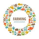 Rolny wektorowy loga projekta szablon uprawiać ziemię, żniwo Fotografia Stock