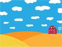 Rolny wiejski deseniowy żółty dojrzały pole i świron ilustracji