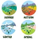 Rolny wiejski krajobraz w cztery sezonach ilustracji