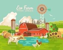 Rolny wiejski krajobraz z stawem Rolnictwo wektoru ilustracja kolorowa wieś Plakat z retro wioską i gospodarstwem rolnym Fl royalty ilustracja