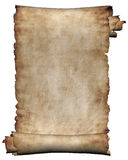 Rolo áspero do manuscrito do fundo da textura do papel de pergaminho isolado no branco Foto de Stock Royalty Free