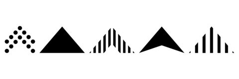 Rolo acima de um grupo de ícones, isolado contra o fundo para a história social dos meios, enrolando o ícone A seta ascendente é  ilustração do vetor