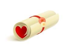 Rolo com coração vermelho Imagens de Stock Royalty Free