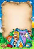 Rolo com grupo de miúdos de acampamento ilustração royalty free