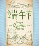Rolo com recreação da tradição de Zongzi no festival de Duanwu, ilustração do vetor ilustração stock