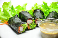Rolo da salada do legume fresco com alga imagem de stock