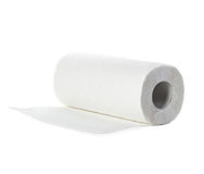 Rolo das toalhas de papel, isolado no branco Fotos de Stock