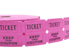 Rolo de bilhetes do raffle no branco Fotografia de Stock Royalty Free
