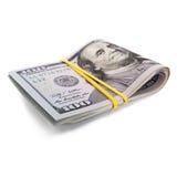 Rolo de 100 dólares da conta Fotografia de Stock