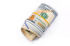 rolo de 100 dólares isolado Imagens de Stock