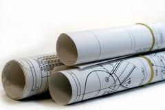 Rolo de desenhos de engenharia Fotografia de Stock Royalty Free