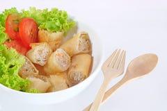 Rolo de mola tailandês e salada fresca Imagens de Stock