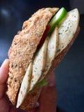 Rolo de pão inteiro da grão com fatia da salsicha e do pepino do vegetariano Foto de Stock
