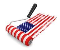 Rolo de pintura com bandeira dos EUA (trajeto de grampeamento incluído) Foto de Stock Royalty Free
