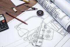 Rolo de planos do desenho Fotografia de Stock