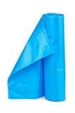 Rolo de sacos de lixo plásticos azuis Imagens de Stock Royalty Free