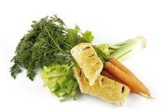 Rolo de salsicha com cenouras e aipo Imagem de Stock