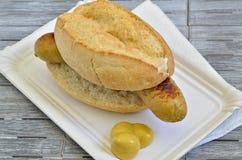 Rolo de salsicha com mostarda na placa do Livro Branco Fotografia de Stock Royalty Free