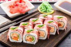 Rolo de sushi com bacon Fotografia de Stock Royalty Free