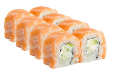 Rolo de sushi com os salmões isolados no fundo branco Imagem de Stock Royalty Free
