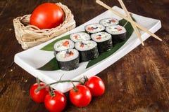 Rolo de sushi do vegetariano Fotografia de Stock Royalty Free
