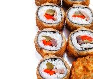 Rolo de sushi quente do ventilador com acordo Imagens de Stock Royalty Free