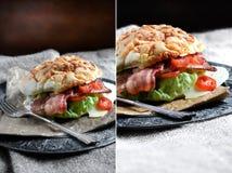 Rolo do bacon, da alface e do tomate Imagem de Stock Royalty Free