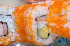Rolo do corte do sushi do close up Imagem de Stock Royalty Free