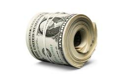 Rolo do dólar apertado com faixa Entalhe rolado do dinheiro fotos de stock royalty free