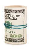 Rolo do dinheiro e da curva Imagens de Stock Royalty Free