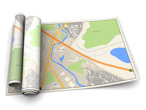 Rolo do mapa Fotografia de Stock