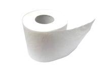 Rolo do papel higiénico isolado no branco Fotos de Stock