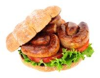 Rolo do sanduíche da salsicha imagem de stock