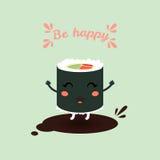 Rolo dos desenhos animados do ute do ¡ do  de Ã, suchi Alimento japonês Imagem de Stock