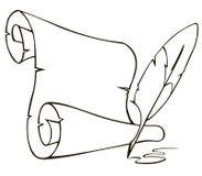Rolo e pena de papel velhos Foto de Stock Royalty Free