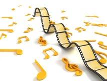 Rolo negativo tridimensional com notas musicais Imagens de Stock Royalty Free