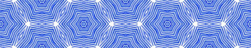 Rolo sem emenda azul da beira Aquarela geom?trica ilustração royalty free