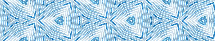 Rolo sem emenda azul da beira Aquarela geom?trica ilustração stock