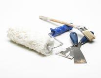 Rolo, spatulas e pincel de pintura Fotos de Stock Royalty Free