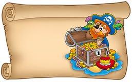 Rolo velho com pirata e tesouro Imagens de Stock Royalty Free