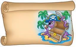 Rolo velho com polvo do pirata Fotos de Stock