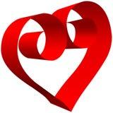 Rolo vermelho grande do coração do Valentim 3D no branco Imagens de Stock