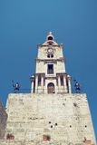 Roloi clocktower. With knights in the Rodos, Greece. Toned photo Stock Photo
