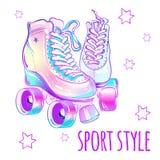 Rolos alto-detalhados bonitos femininos Ilustração do vetor em cores pastel cor-de-rosa Projeto do estilo do esporte ilustração do vetor
